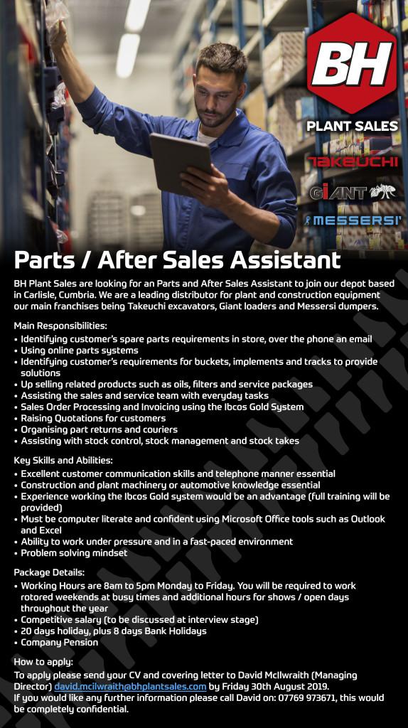 BH Plant Sales Parts / After Sales Assistant