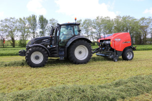 Kuhn FB baler and Valtra tractor